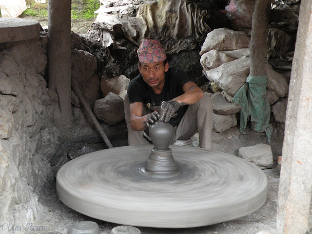 Nepali potter at work in Bhaktapur