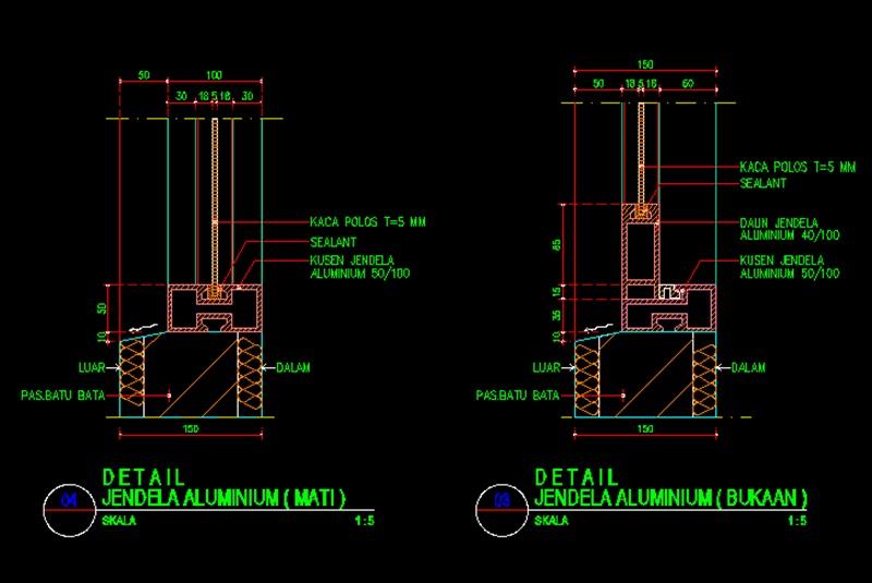 Detail Jendela Aluminium File Dwg  Kaula Ngora  Download