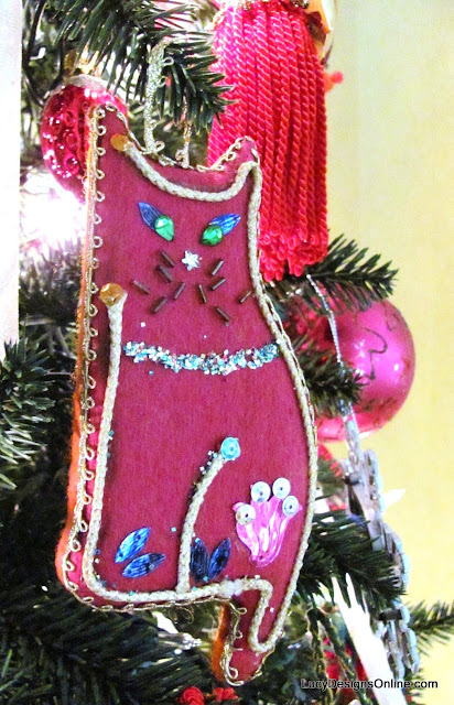 vintage pink felt cat ornament with sequins