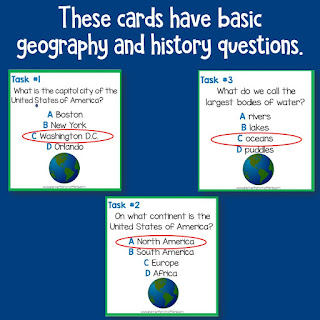 These Social Studies Review Task Cards are perfect for end of the year review of basic geography and history knowledge. Plus, the children love them!
