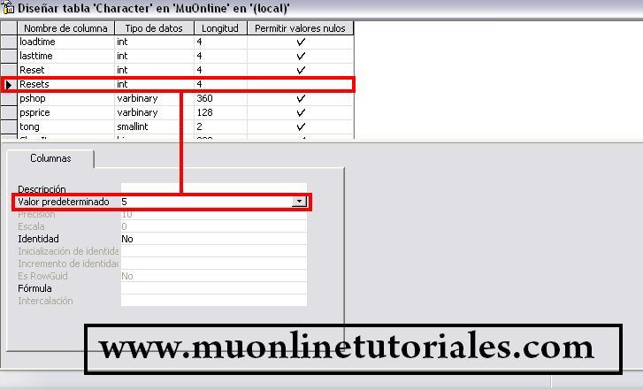 Modificando el valor predeterminado de la columna resets