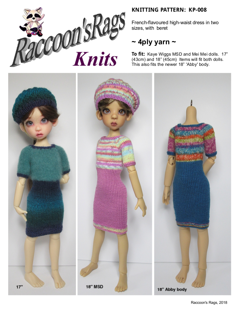 Raccoons Rags: KP-008: High waisted dress and beret knitting pattern ...