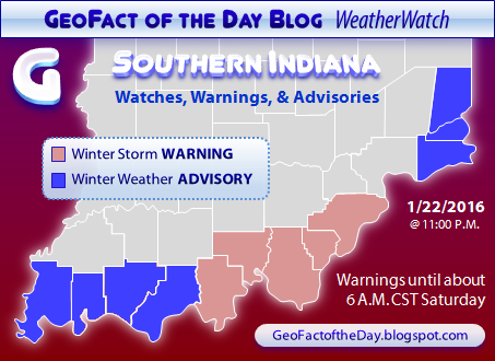 Map of Southern Indiana's winter storm warning and winter weather advisory alerts, 1/22/2016