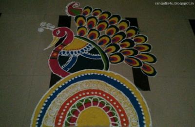 Peacock Rangolis with Circle