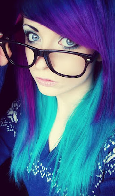 Colored emo hairstyle & glasses