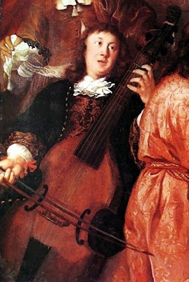 The only surviving portrait of Dietrich Buxtehude, playing a viol, from A musical party by Johannes Voorhout (1674)