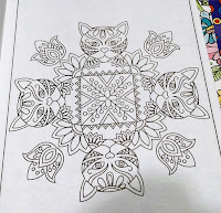 geometric cat design heart nose lotus flower India henna diy color tutorial