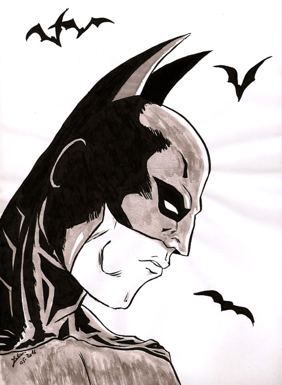 Image de profil de Batman au pinceau et à l'encre de chine