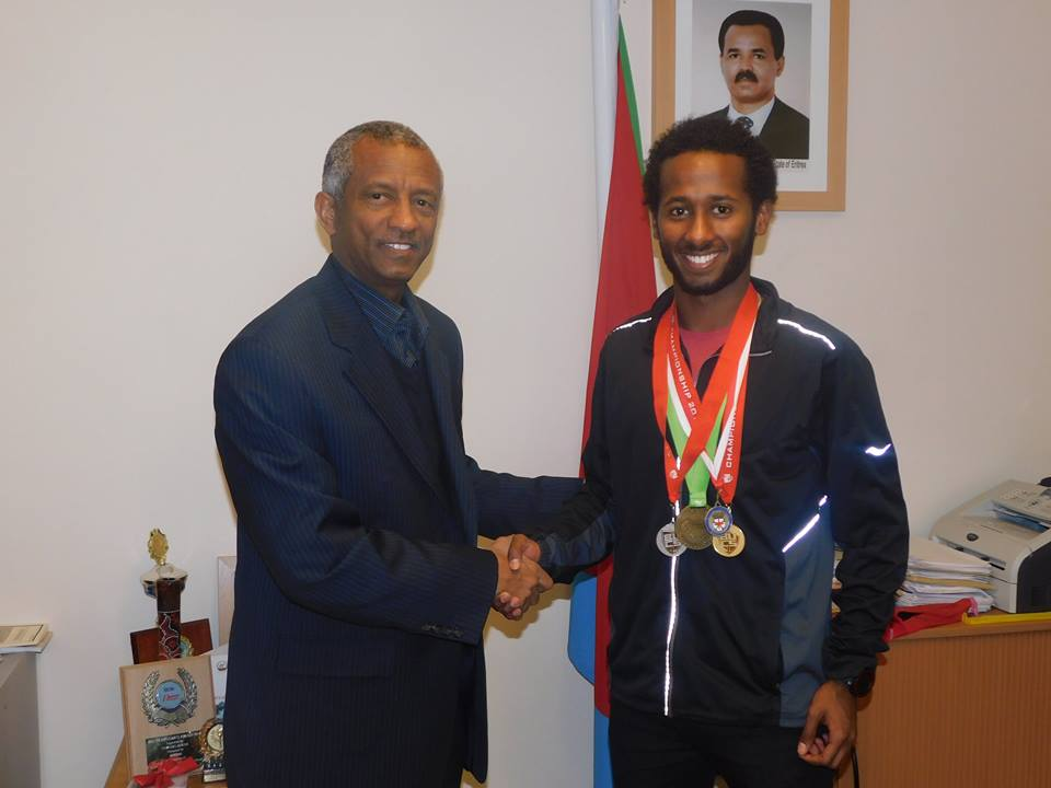 <Eritrean Ambassador to UK &amp; Ireland received and encouraged the 2017 BUCS silver medalist