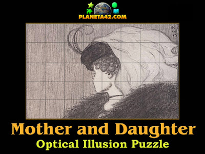 My wife and my mother in law optical illusion puzzle