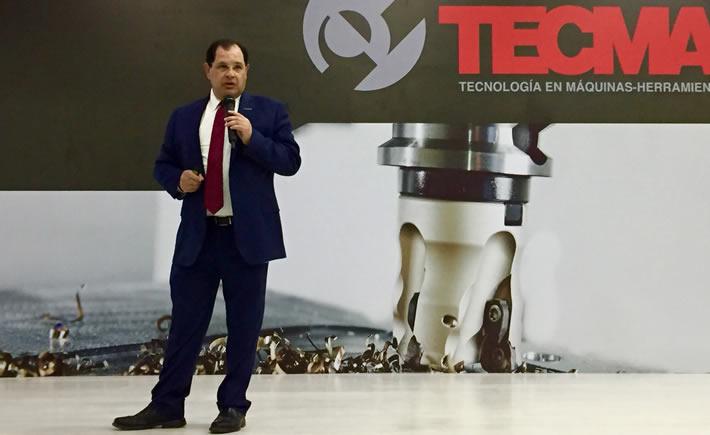 Luis Lizcano, director general de la Federación Mexicana de la Industria Aeroespacial (Femia) durante su participación en Tecma 2019. (Foto: Cortesía)