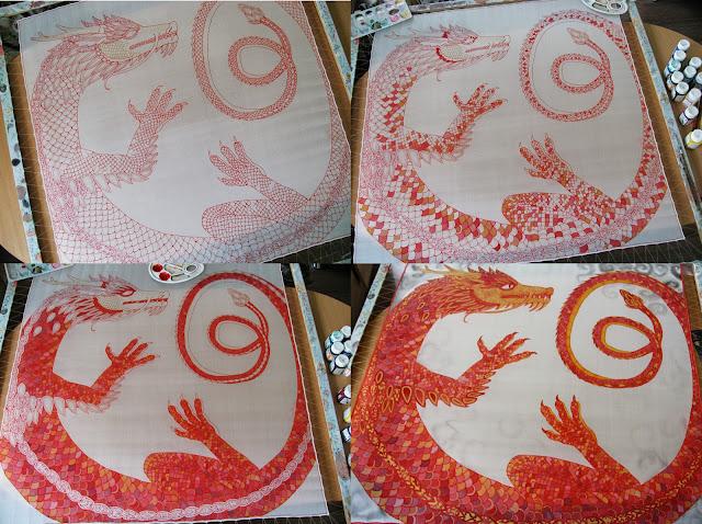 Silk painting process stages, square scarf, dragon / Šilko tapybos proceso eiga, šilko skara, drakonas