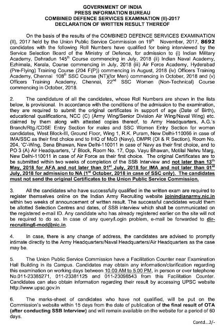 UPSC-CDS-II-exam--2017-written-result