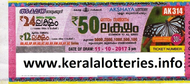 Akshaya (AK-314) kerala Lottery on 11-oct-2017
