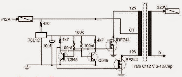 Skema Cara Membuat Inverter 12 Volt DC Menjadi 220 Volt AC
