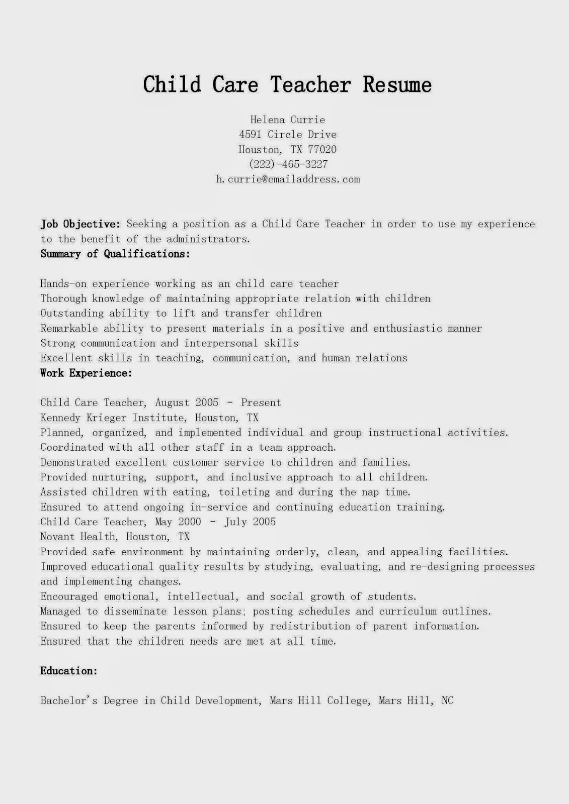 Resume Resume Examples For Child Care childcare resume sample breakupus mesmerizing free child care samples 05052017