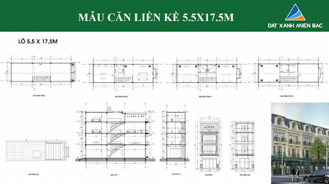 Hình ảnh thiết kế mẫu liền kề thuộc dự án Uông Bí New City ( loại 5,5 x 17,5 m)