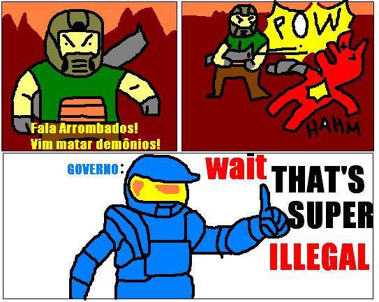 Tirinha sobre a lei de proibir jogos violentos