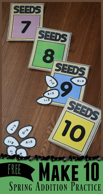 FREE Make 10 Seeds Activity - free printable, hands on, educational spring addition practice for preschool, kindergarten and first grade kids. Perfect for summer learning activities and math centers