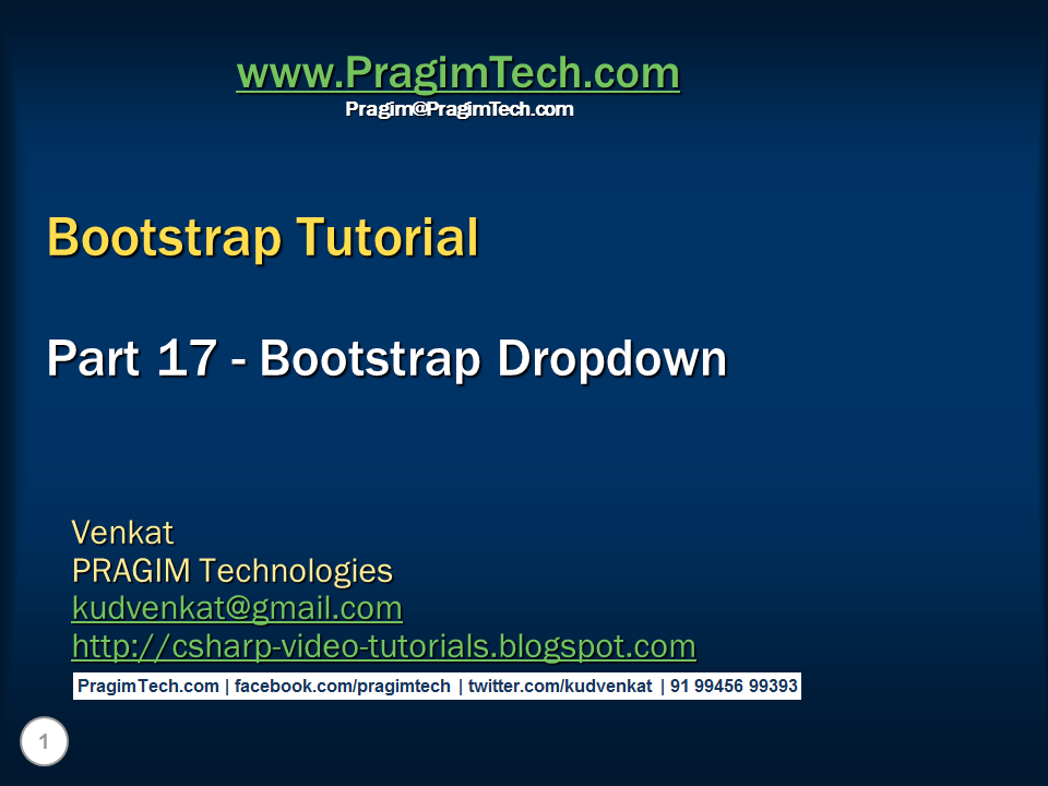 Sql server, .net and c# video tutorial: Bootstrap dropdown