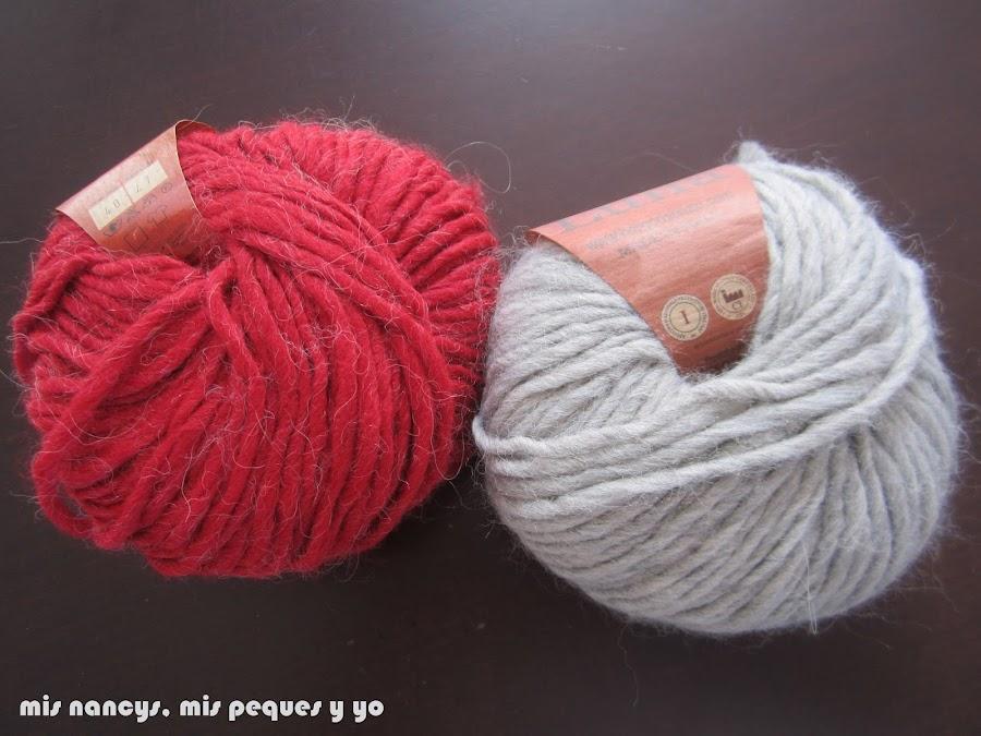 mis nancys, mis peques y yo, ovillos de lana gris perla y granate