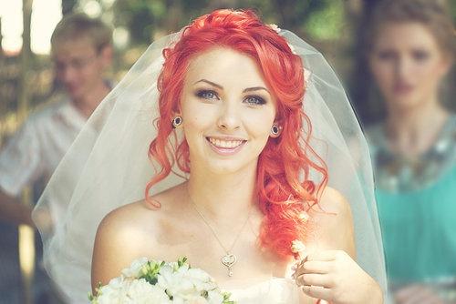 Noiva de cabelo vermelho