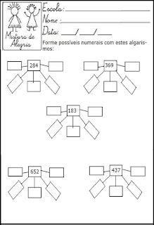 Atividade matemática com numerais