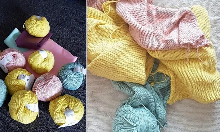Wolle und Einzelteile eines Strickpullovers