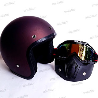 Helm Retro Half face + Goggle Mask Antman