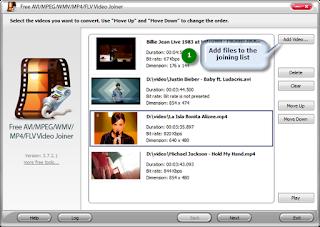 Free AVI/MPEG/WMV/MP4/FLV Video Joiner