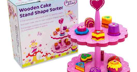 Wooden Cake Stand Shape Sorter Toy