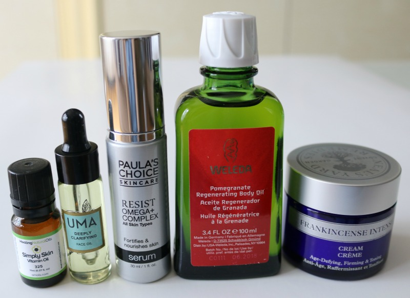 Amoils Simply Skin Vitamin Oil Uma Deeply Clarifying Face Oil Paula's Choice Resist Omega+ Complex Serum Neal's Yard Remedies Frankincense Intense Cream Weleda Pomegranate Regenerating Body Oil