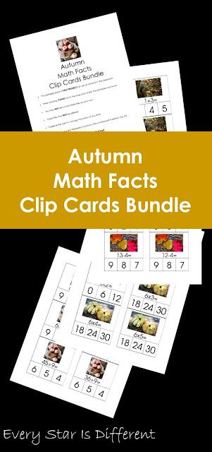 Autumn Math Facts Clip Cards Bundle