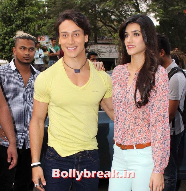 Promotion of movie 'Heropanti' at Mad Over Donuts, Kriti Sanon and Tiger Shroff Promote Heropanti at Mad Over Donuts