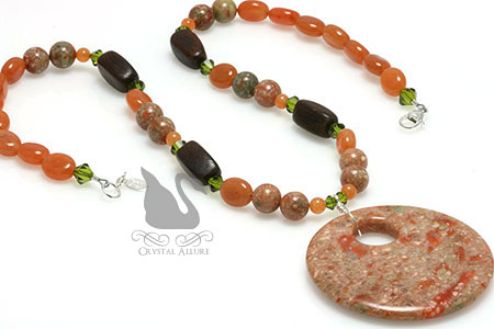 Autumn Jasper Unakite Wood Amber Gemstone Beaded Necklace (N119)