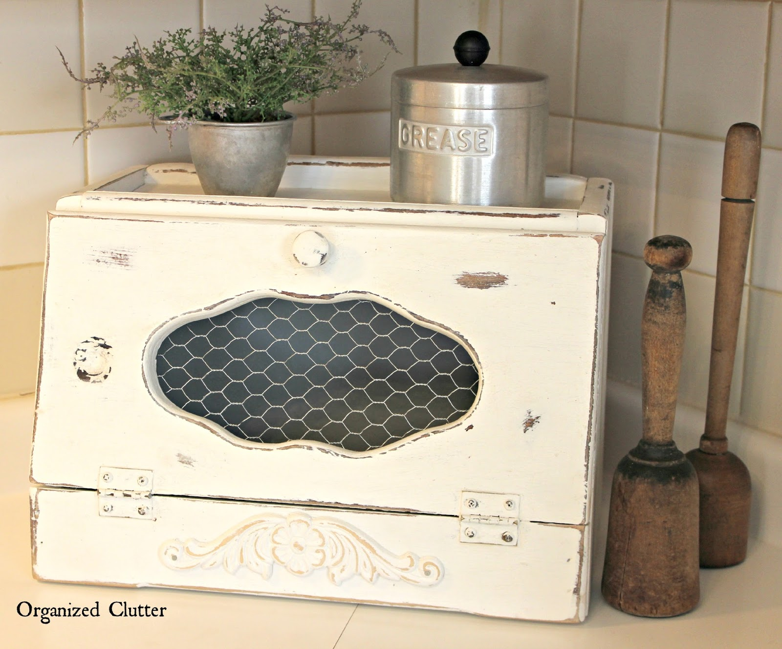 Thrift Shop Breadbox Gets Shabby Farmhouse Makeover organizedclutter.net