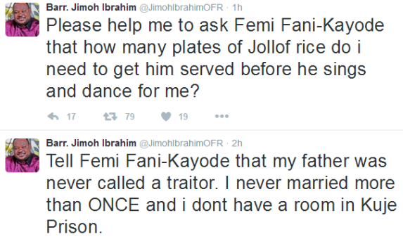 Twitter war between FFK and Jimoh Ibrahim continues