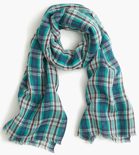 J. Crew Teal Plaid Scarf $14 (reg $60)