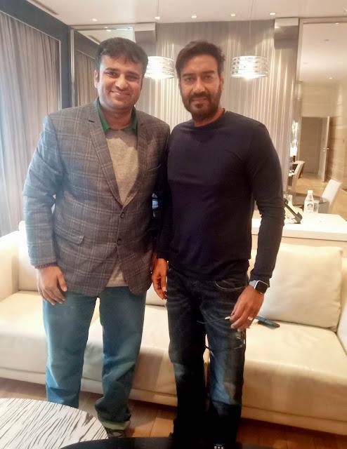 Film Critic Murtaza Ali Khan with Bollywood superstar Ajay Devgn