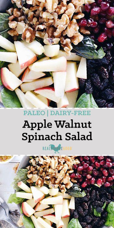 APPLE WALNUT SPINACH SALAD (GF, DAIRY-FREE + REFINED SUGAR-FREE)