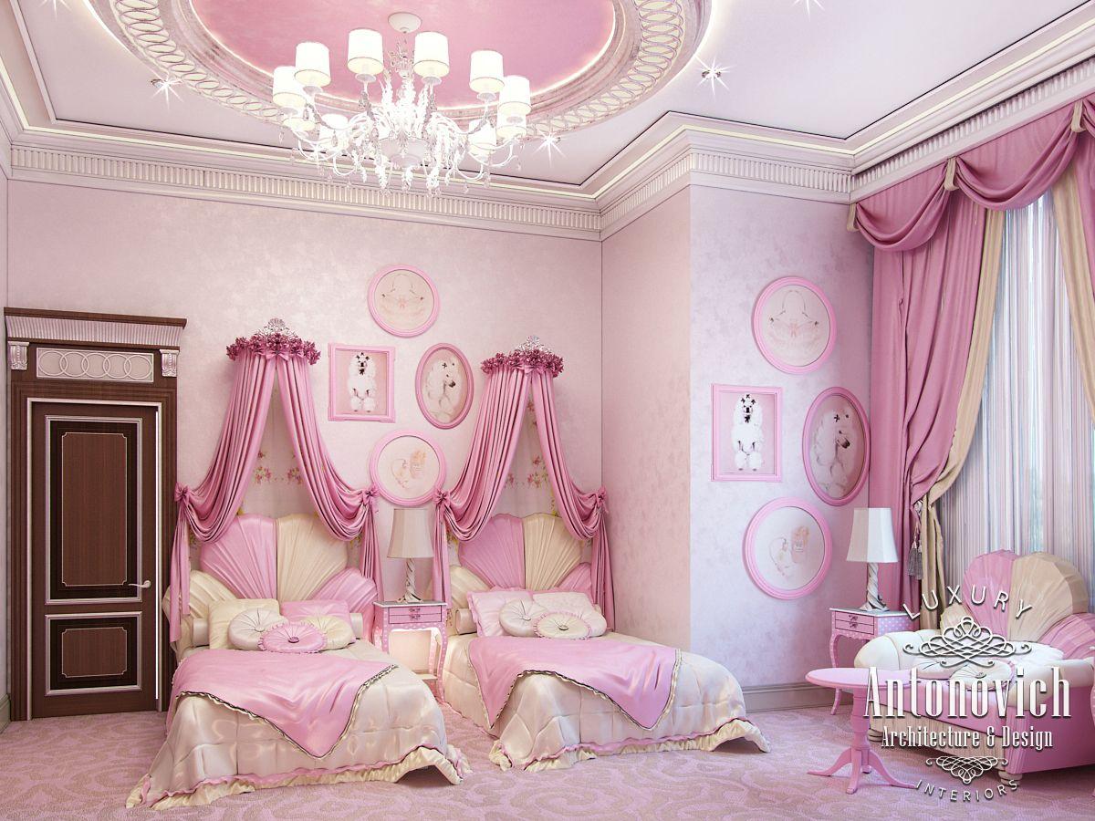 LUXURY ANTONOVICH DESIGN UAE: Pink girly bedroom Dubai