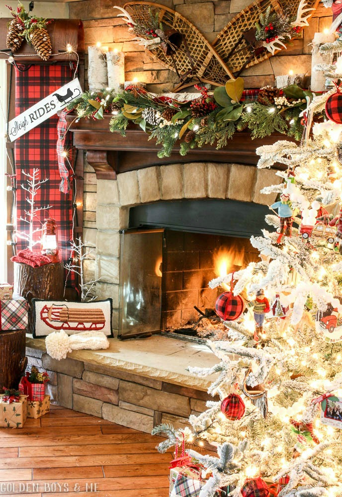 Sleigh Ride Christmas Mantel Decor With Antique Snowshoes Toboggan Birch Logs And Plaid