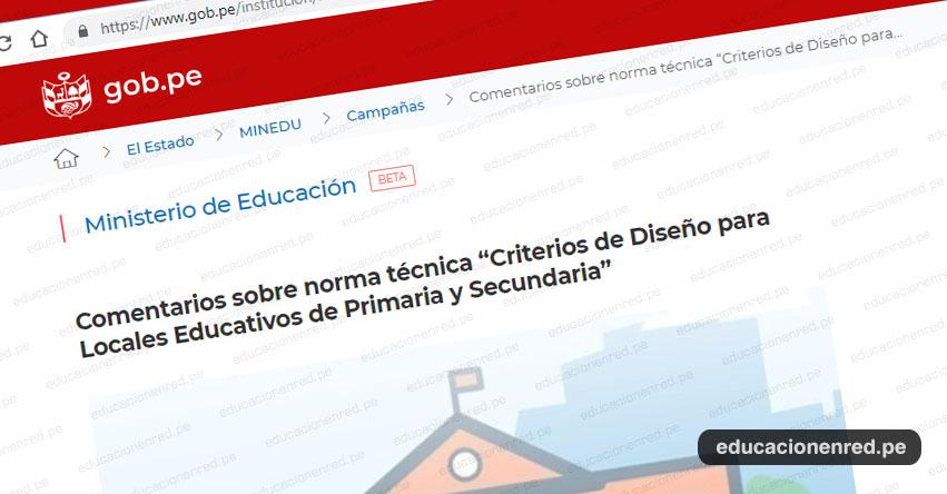 MINEDU: Comentarios sobre norma técnica «Criterios de Diseño para Locales Educativos de Primaria y Secundaria» (.PDF)
