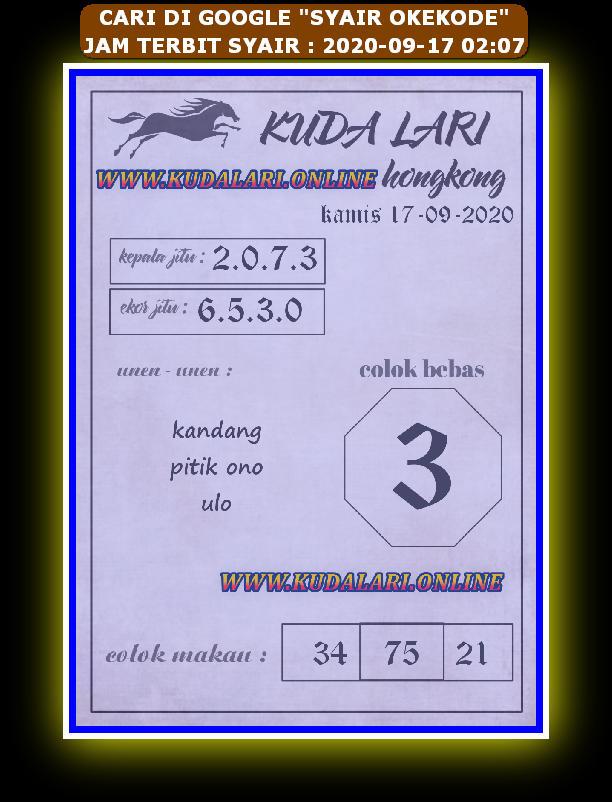 Kode syair Hongkong Kamis 17 September 2020 170