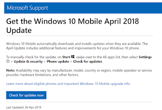 Windows 10 Mobile April 2018 Update