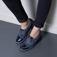 Pantofi dama Piele Juvela albastri lac tip casual