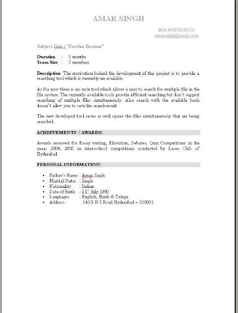 Resume Format For FresherFresher Resume Examples Doc Format Mca