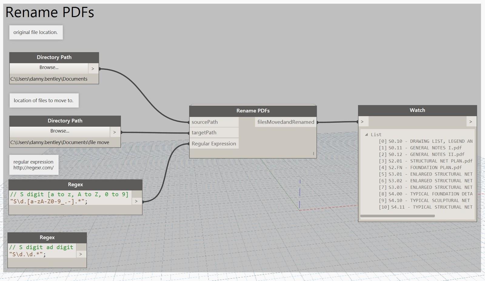 Dynamo batch PDF file renamer