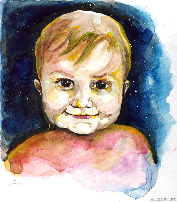 aliciasivert, alicia sivert, alicia sivertsson, porträtt, akvarell, aquarelle, vattenfärg, water colour, watercolor, watercolour, water color, tage, porträtt, portrait, painting, målning, barn, child