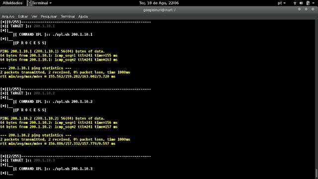 O parâmetro --xpl do script AutoXPL funciona executando um command line, assim possibilita até mesmo aviar um curl, nmap, sqlmap ou seja aquele exploit FTP, pois podemos gerar lista de IPs com o script.  Exemplo usando range de IP: php autoxpl.php --range '200.1.10.1,200.1.10.255' --xpl './xpl.sh _TARGET_'